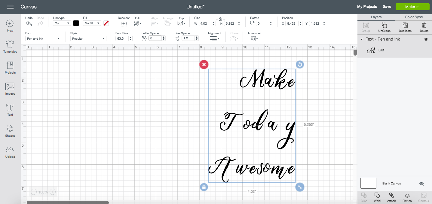 Change the default letter spacing when working with script fonts in Design Space