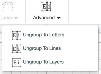Screenshot of advanced font tools in Cricut Design Space