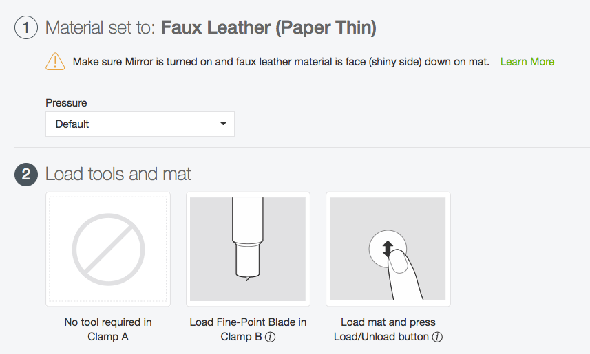 """Set your Cricut to """"faux leather"""" to cut faux leather on your Cricut"""