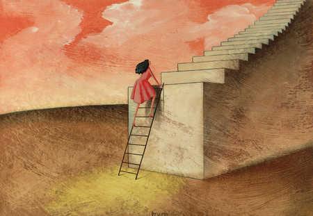stock illustration woman climbing
