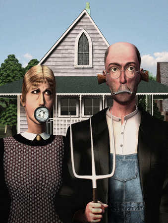 Stock Illustration - Farmer holding pitchfork with mouth zipped and ears corked next to women with button over lip
