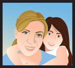 daughter hugging mother drawing child portrait affection colour