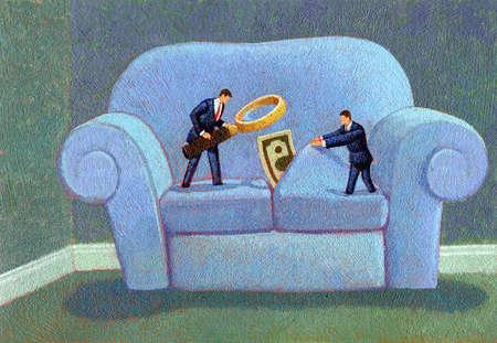 Stock Illustration Businessmen Looking For Money In Sofa