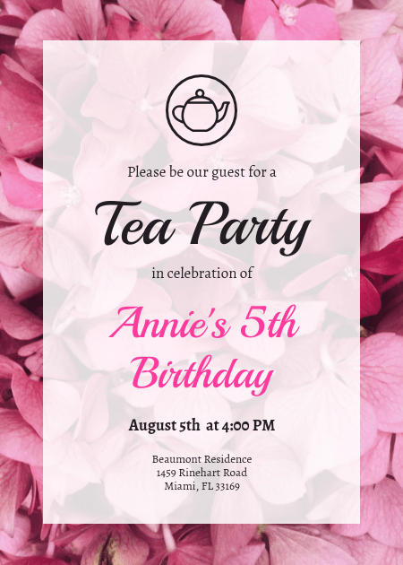 floral pink tea party invitation template