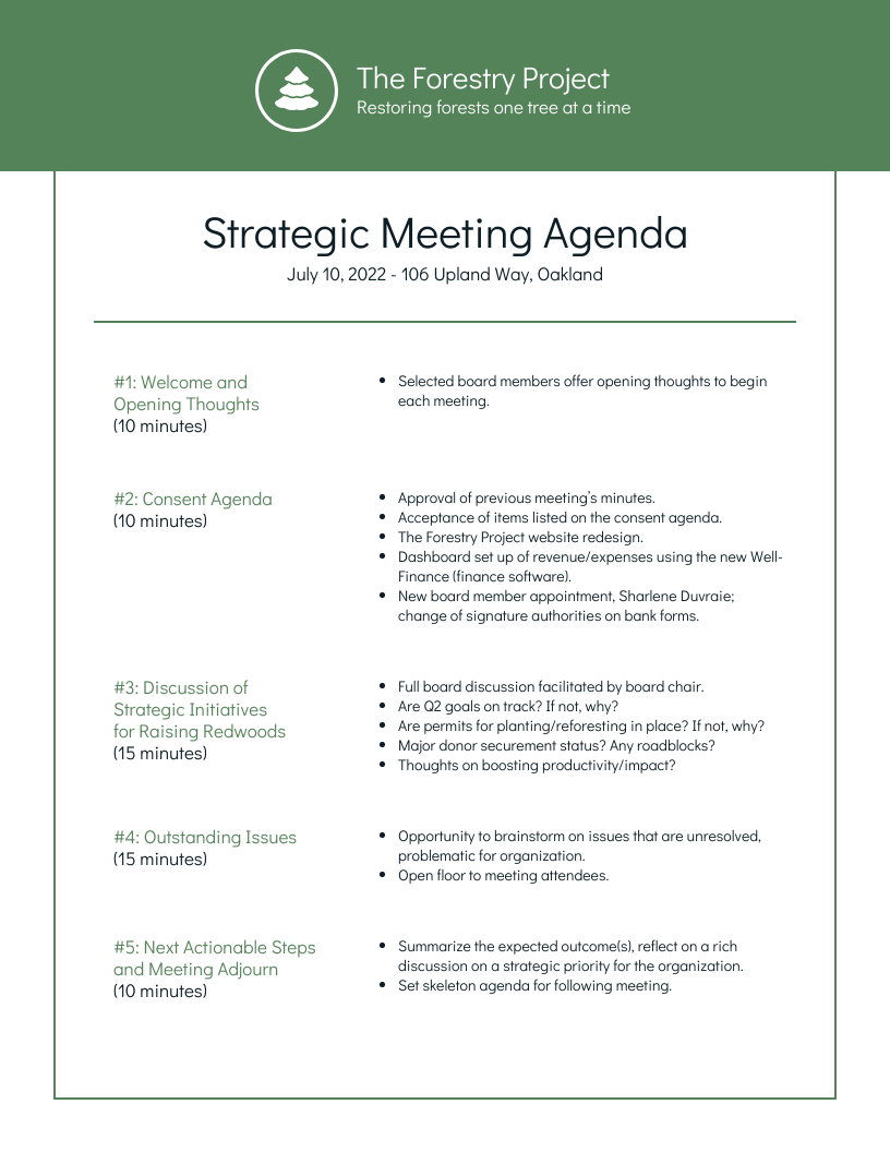 Agendas are often used to help guide board of director meetings and keep the members on track. Nonprofit Environmental Board Meeting Agenda Template