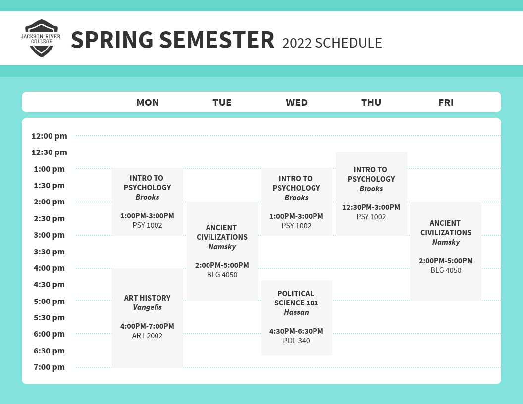 College Weekly Class Schedule Template