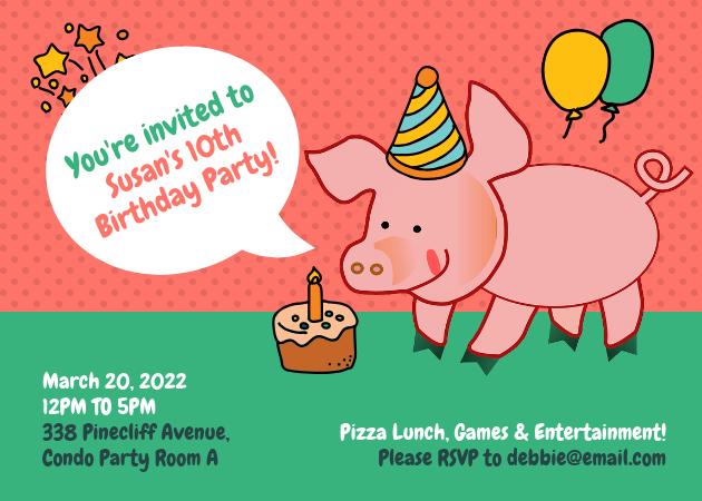 funny pig birthday party invitation