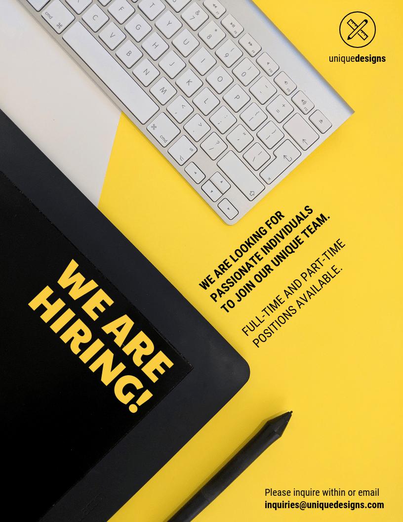 yellow now hiring flyer