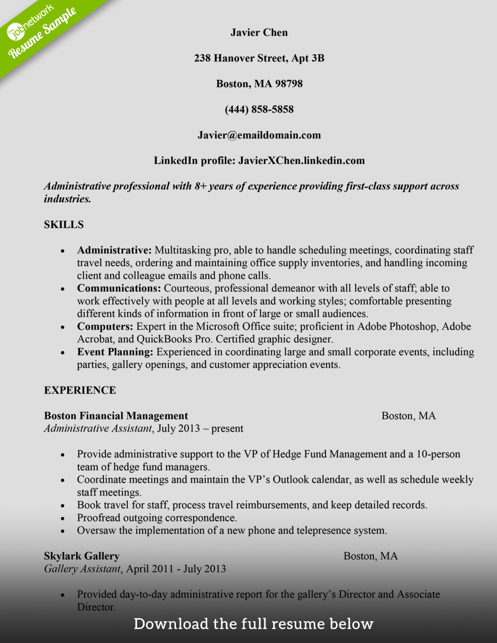 resume title examples administrative assistant