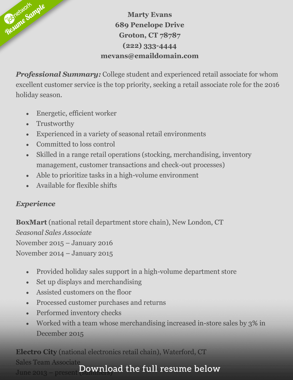 Resume Examples For Free How To Write A Perfect Retail Resume Examples Included