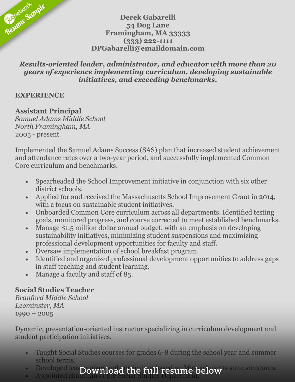 sample middle school social studies teacher resume