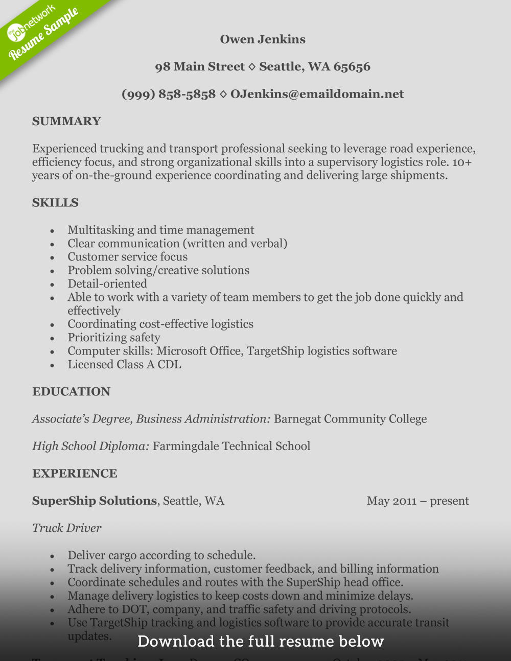Example Professional Resume How To Write A Perfect Truck Driver Resume With Examples