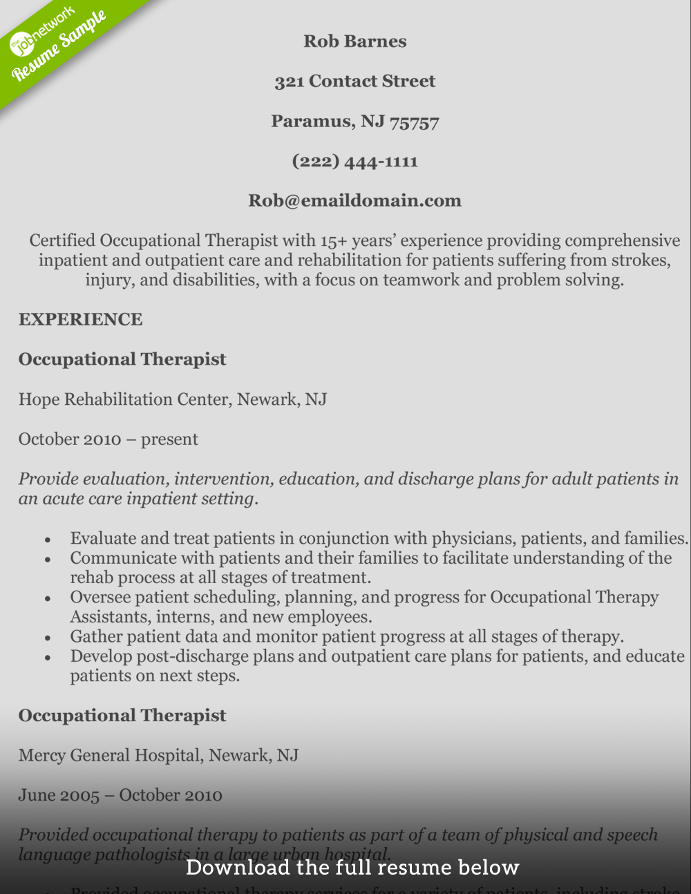 Counseling Resume Sample How To Write A Perfect Occupational Therapist Resume
