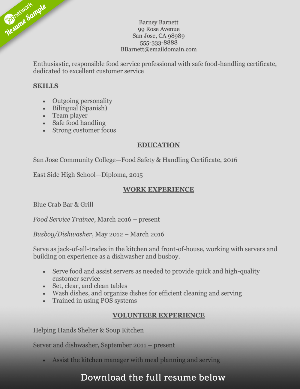 resume samples entry level food service