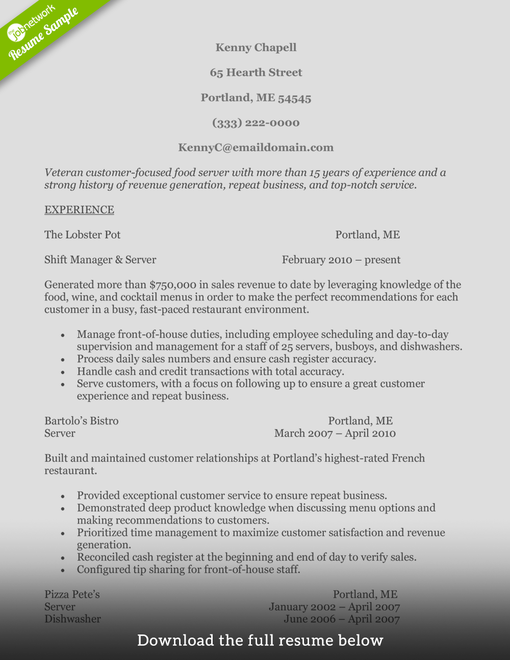 Resume Examples Customer Service How To Write A Perfect Food Service Resume Examples Included