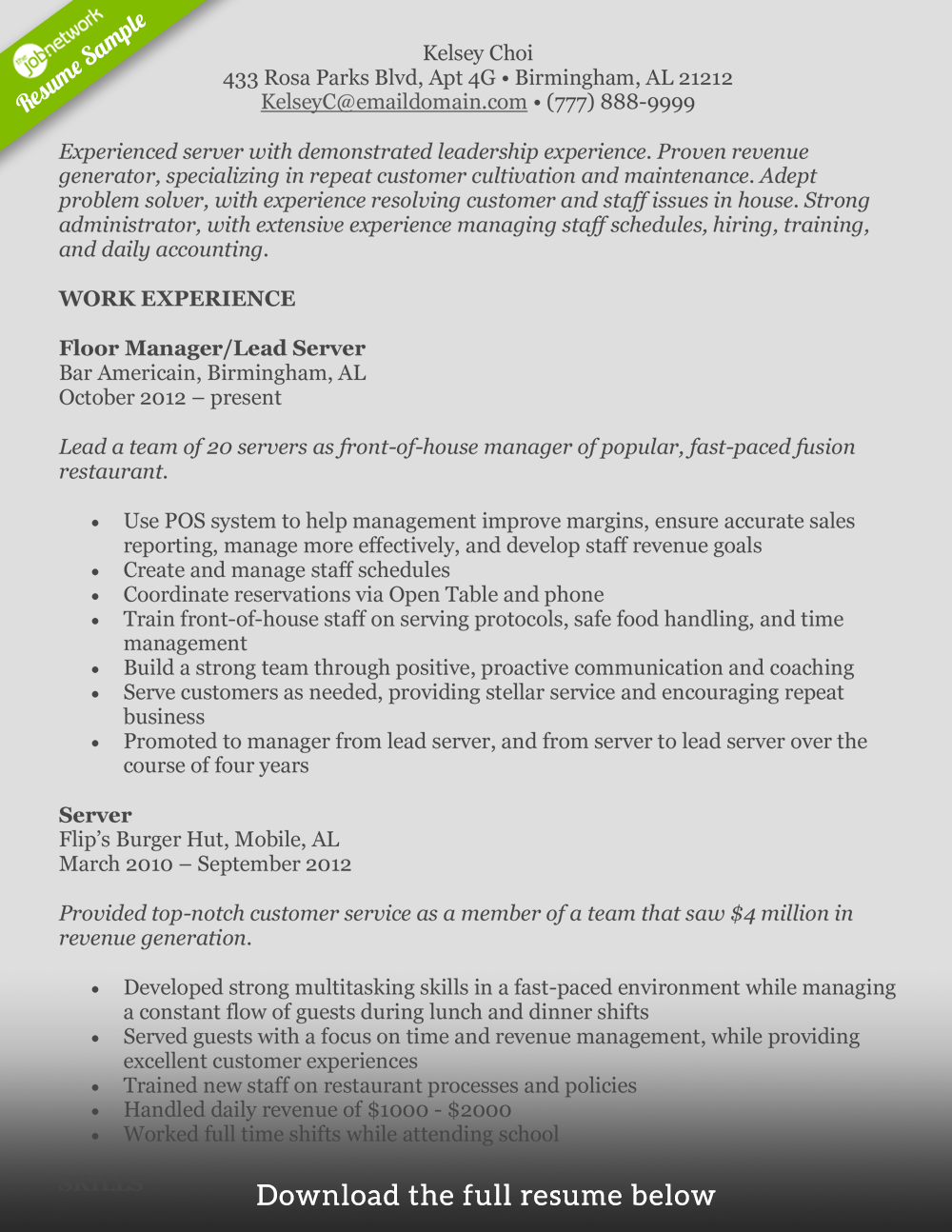 Example Server Resume How To Write A Perfect Food Service Resume Examples Included