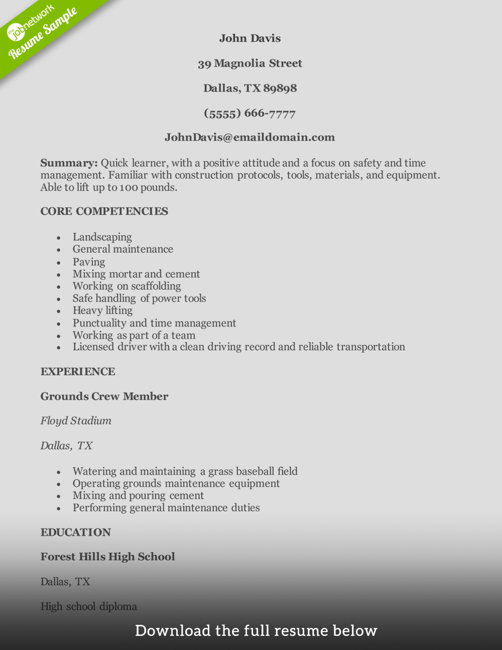 construction helper resume examples