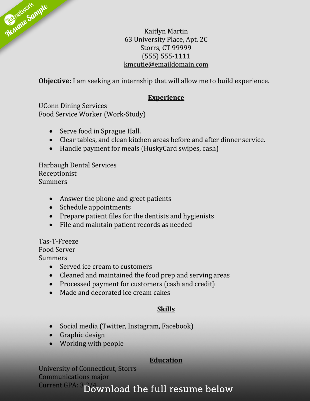Internship Objectives For Resume How To Write A Perfect Internship Resume Examples Included