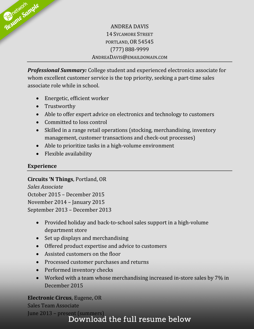 How To Write A Resume For Retail How To Write A Perfect Sales Associate Resume Examples Included
