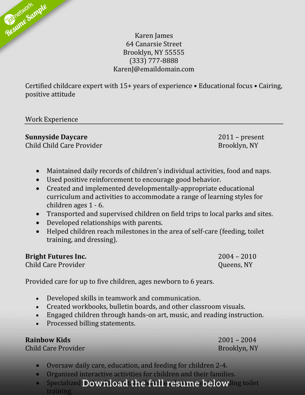 resume template for caretaker