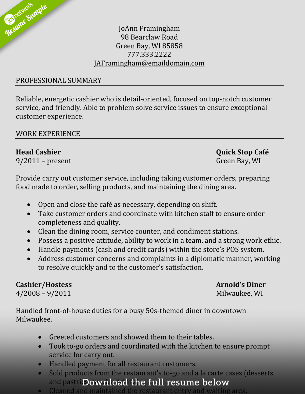 Examples Of Good Resumes How To Write A Perfect Cashier Resume Examples Included