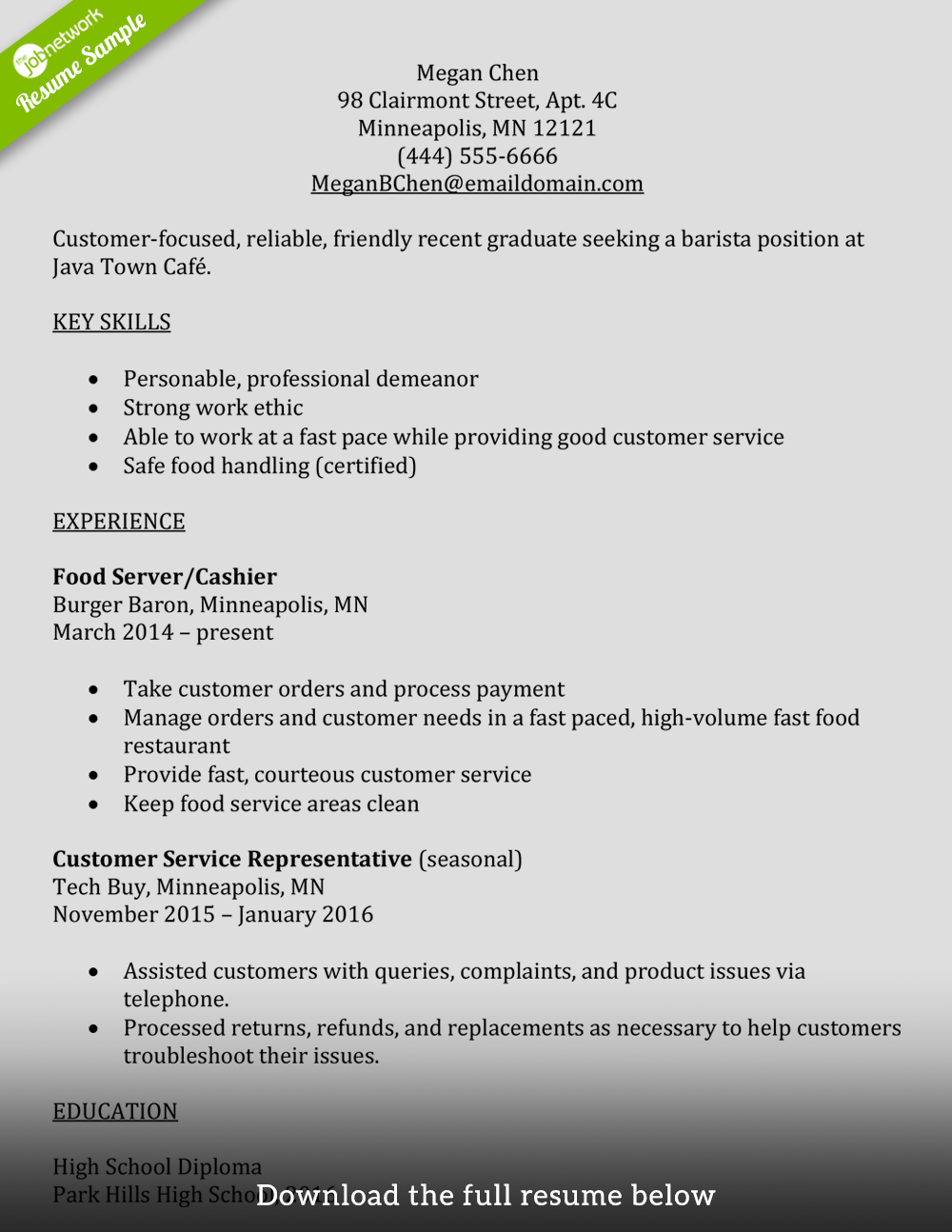 Resume help and example