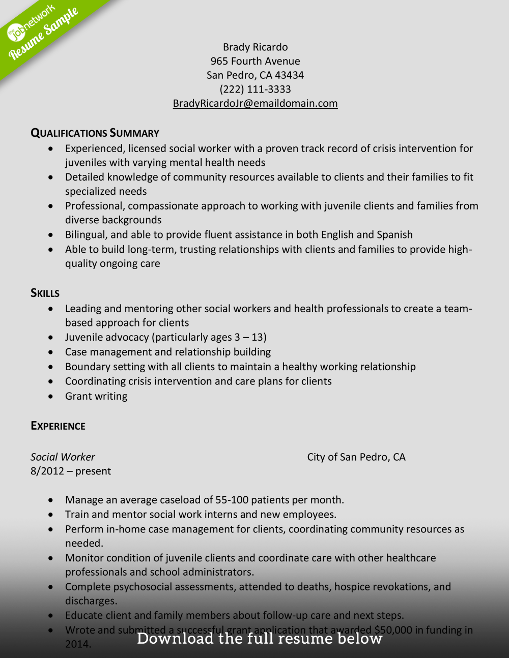 Example Of A Social Worker Resume Examples Of Resumes
