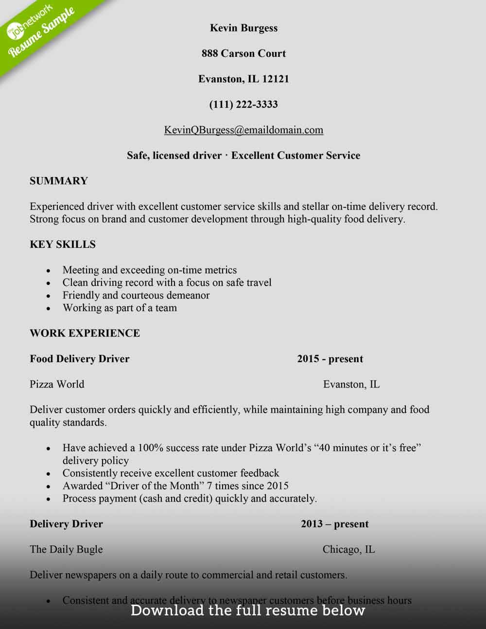 How To Write A Resumer How To Write A Delivery Driver Resume With Examples The Jobnetwork