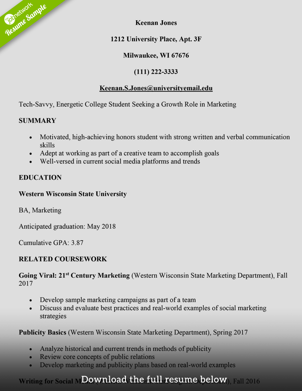 current college resume examples