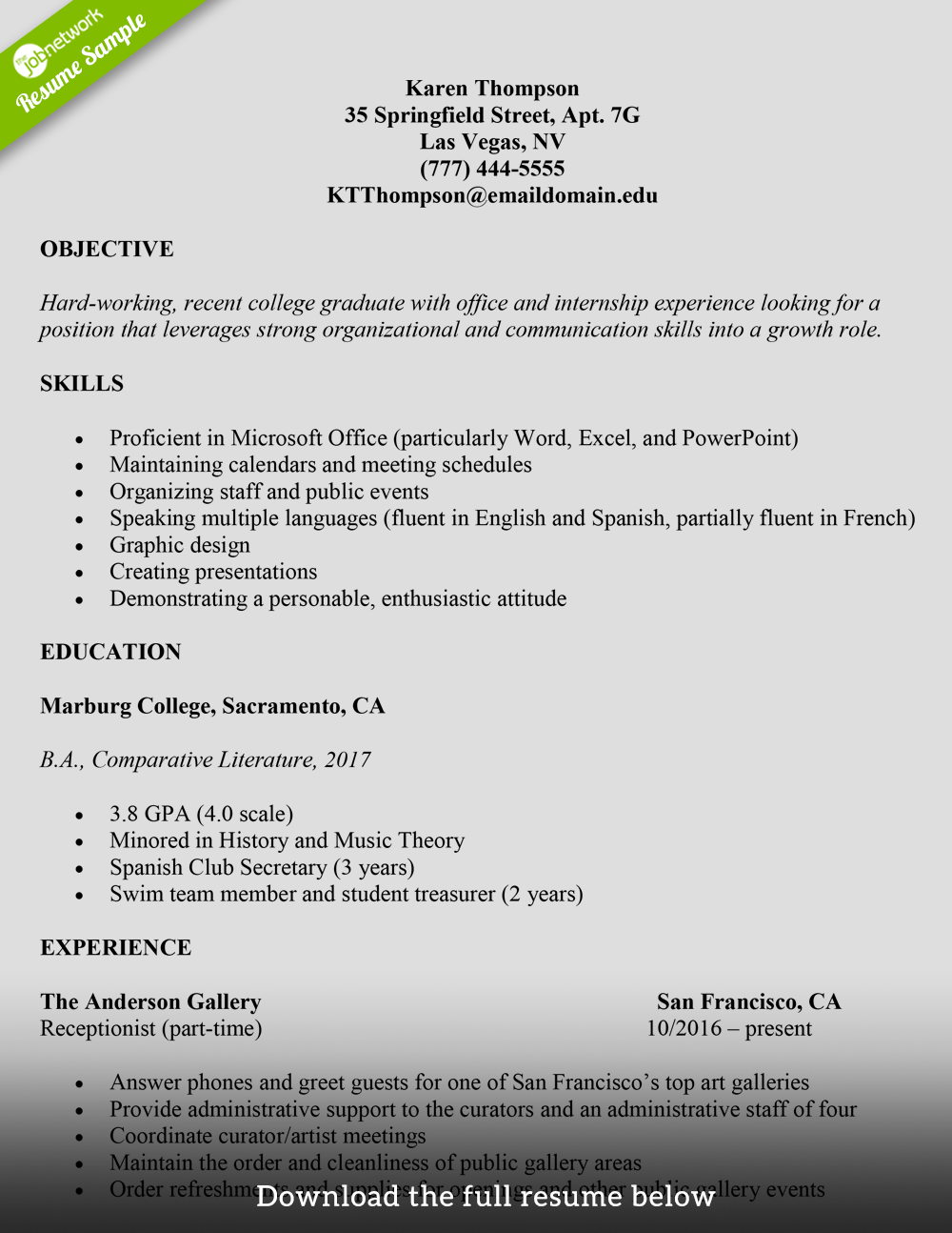 how to mention internship experience in resume