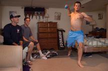 College Baseball Players Barefoot