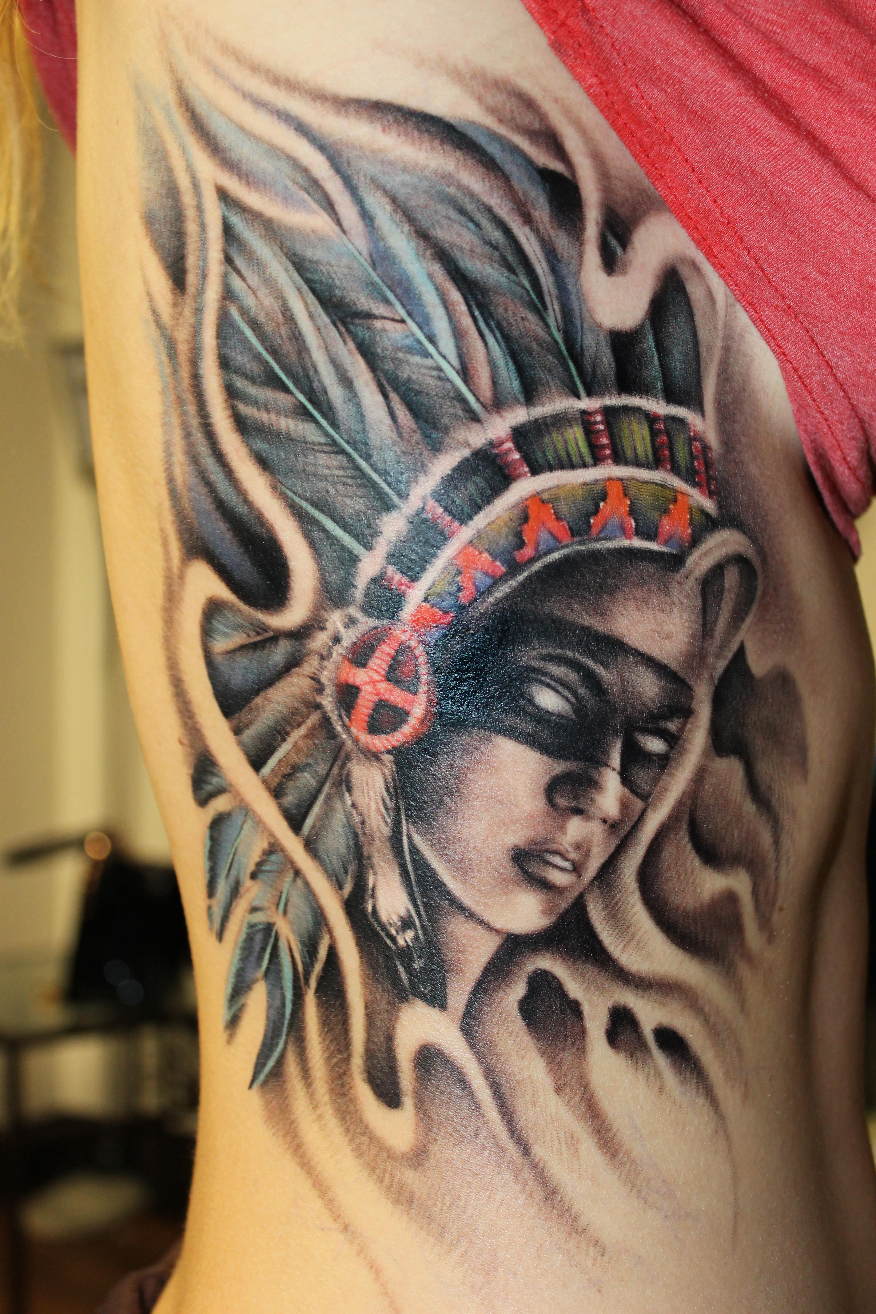 Native American Woman Warrior Tattoo