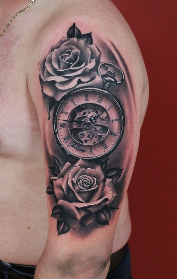 597df7c7e46 Black And Grey Girly Clock Tattoo - Exploring Mars