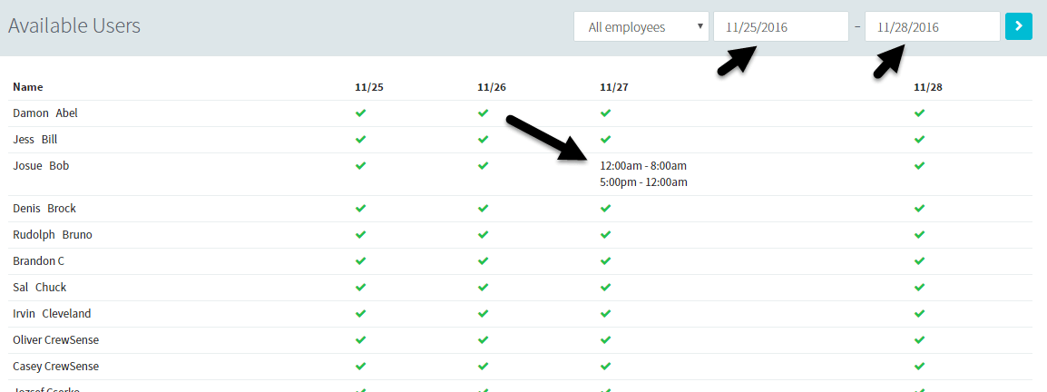 Viewing Employee Availabilites
