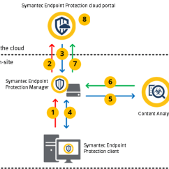 Symantec Endpoint Protection Architecture Diagram 2005 Dodge Ram Radio Wiring Configuring To Use Content Figure How Analysis Works With The Clients Manager And Cloud Console