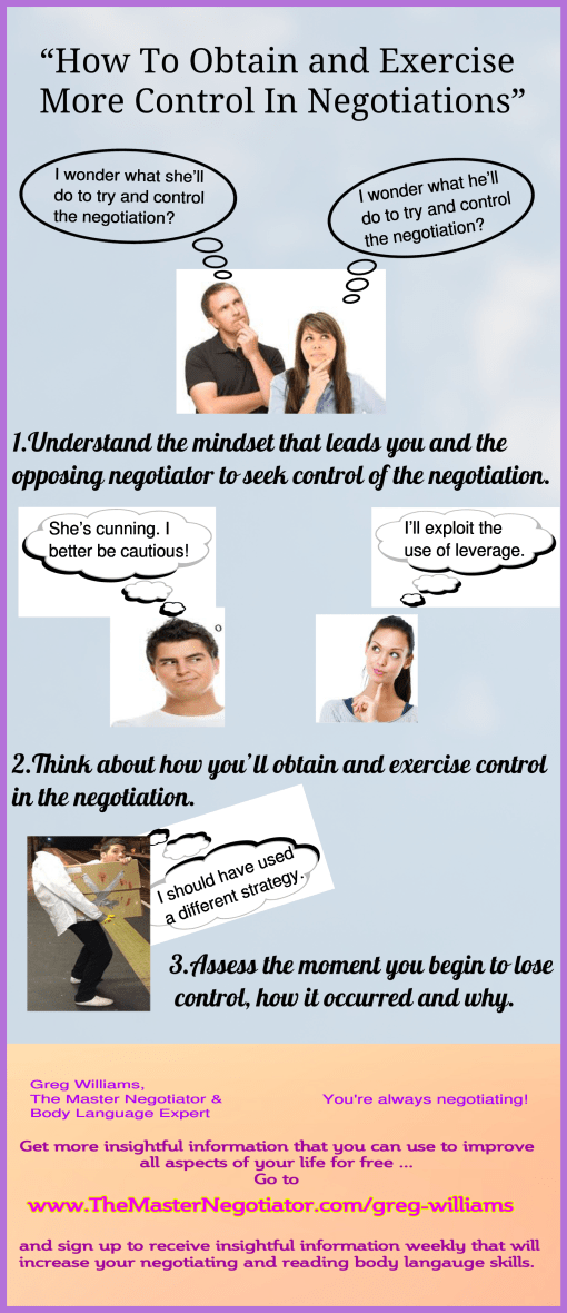 How To Obtain and Exercise More Control In Negotiations