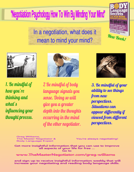 Negotiation Psychology Minding Your Mind