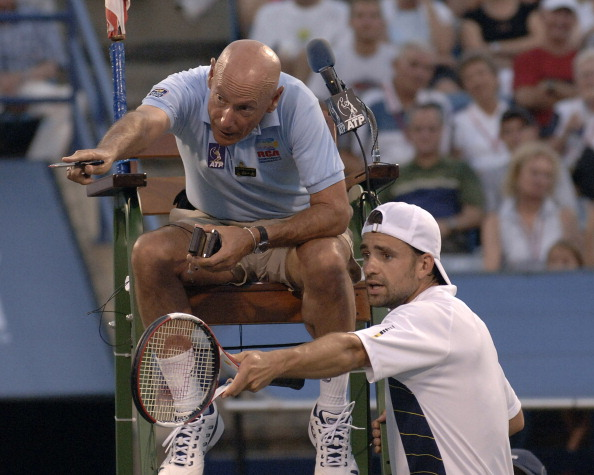 tennis umpire chair hire kids wooden rocking norm chryst former atp tour usta sc player of the year discusses a line call with nicolas kiefer during 2005 rca championship in indianapolis s career as took him all over u