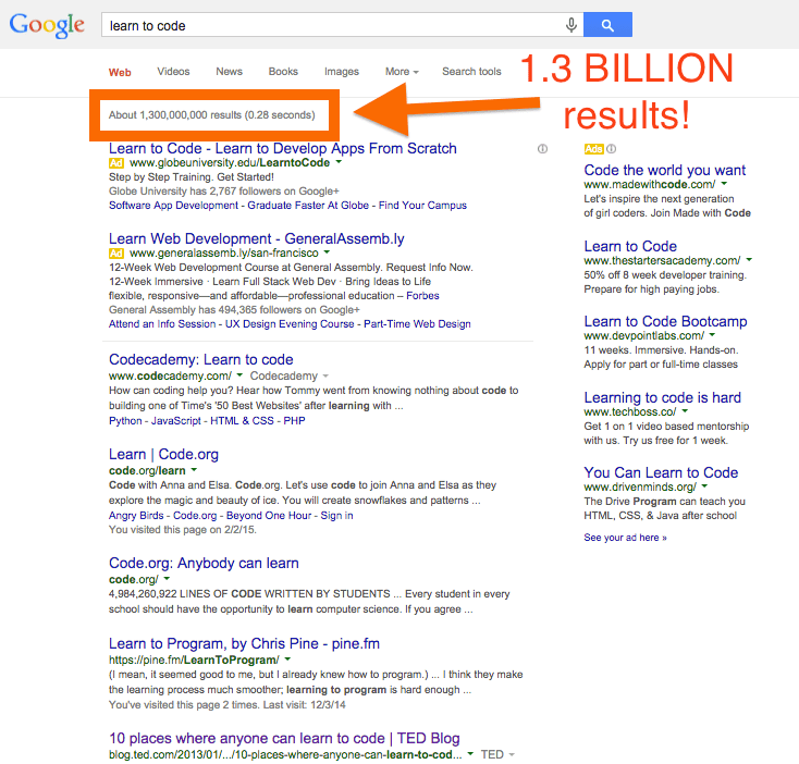 Learn to Code Google results 1 billion plus