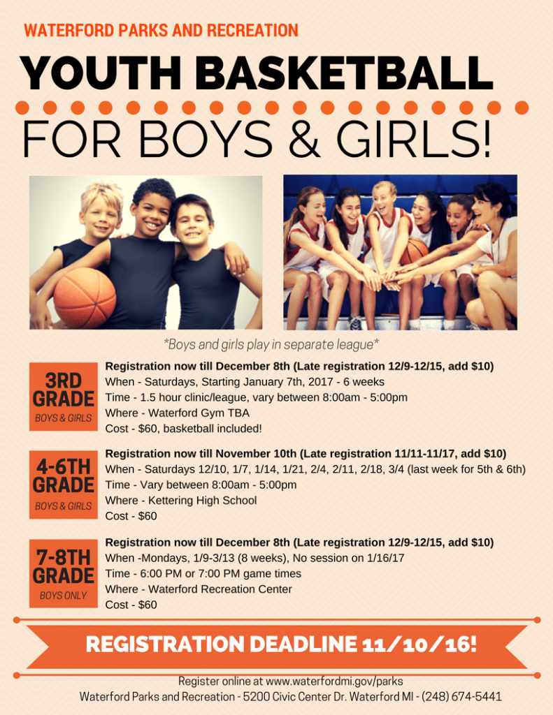 Youth Basketball Tournament · Waterford Mott - Team Home Waterford Mott  Corsairs Sports Youth Basketball Tournament Flyer