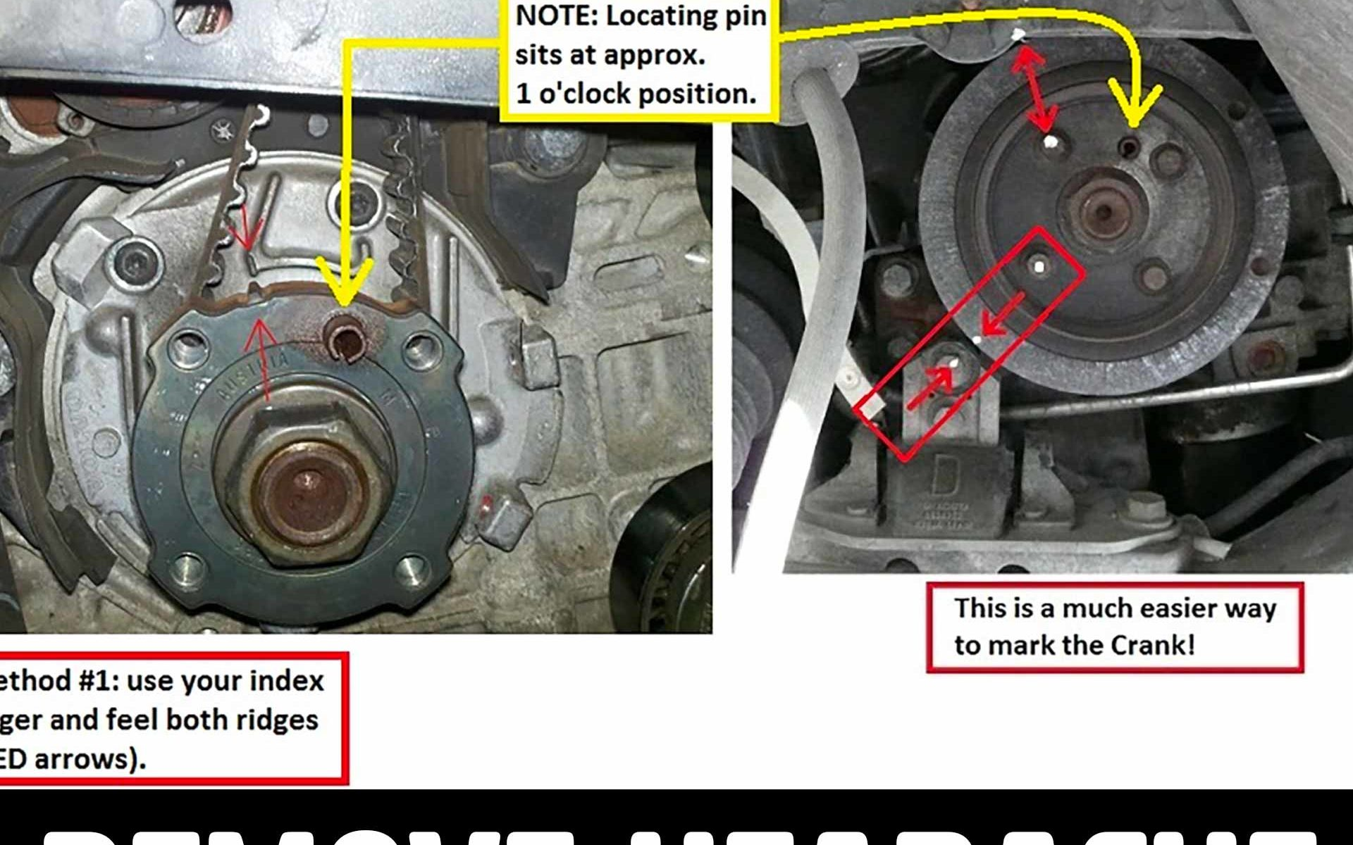 hight resolution of crank marks the easy way to line them up for timing belt
