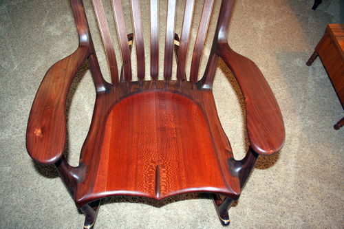 sam maloof rocking chair plans hal taylor beach with footrest and canopy walnut leopardwood 1 my first rocker from s by mbs lumberjocks com woodworking community