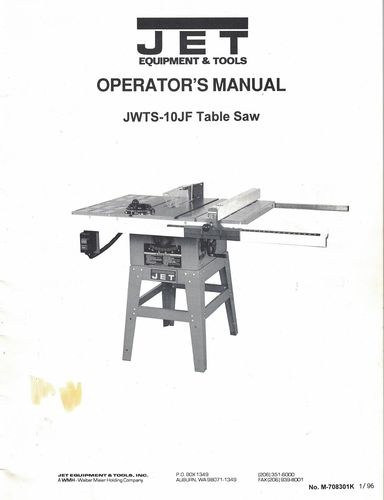 ISO: Manual for Jet JWTS-10 #708471 (Blue, from 1990s