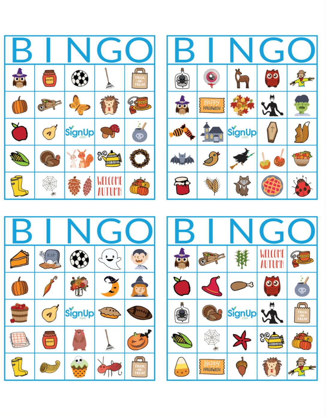 Printable Bingo Cards Fun Fall Classroom Party Activity