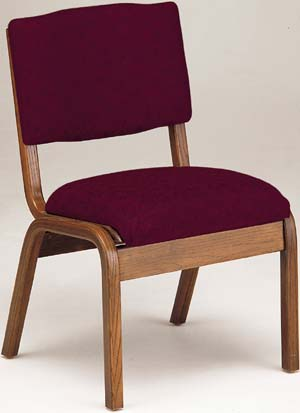 Trinity Padded Oak Wood Stack Chair  T300  Wooden And