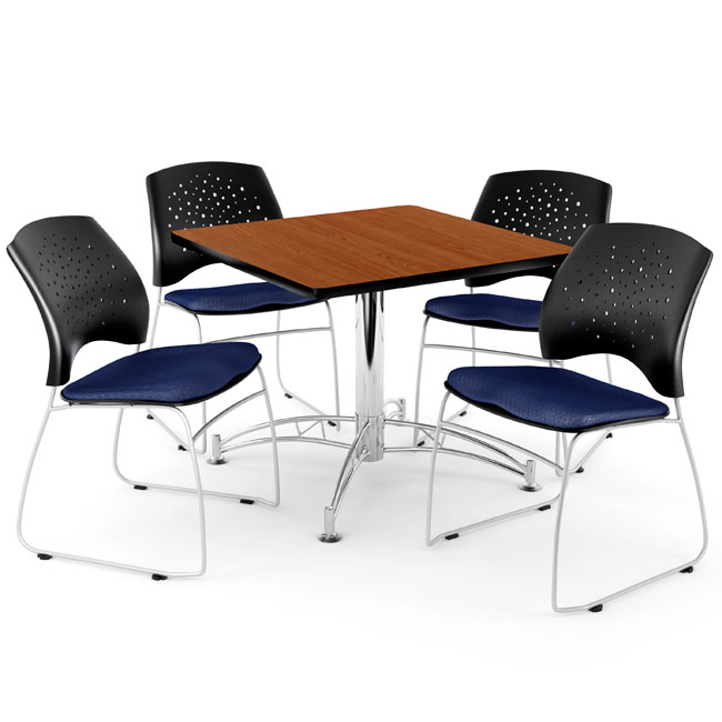 All Breakroom Table  Four Star Series Fabric Chairs By
