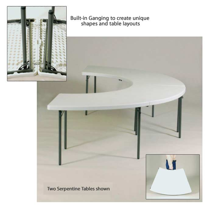 All Plastic Resin Banquet Food Service Folding Tables By