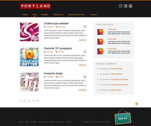 Portland Free Photoshop Website Template Includes 3 Pages