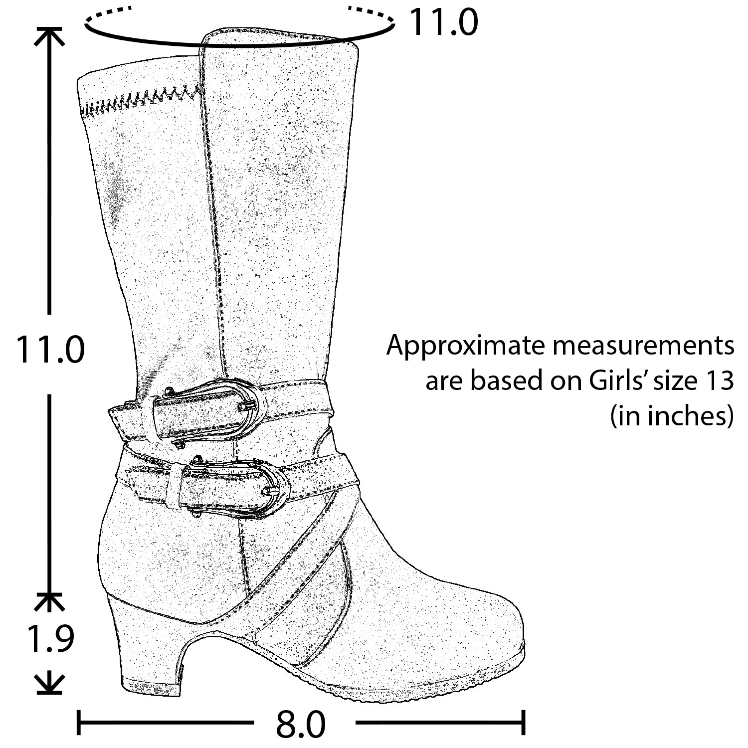 Kids Knee High Boots Faux Leather Buckle Straps Low Heel Riding Shoes Gray