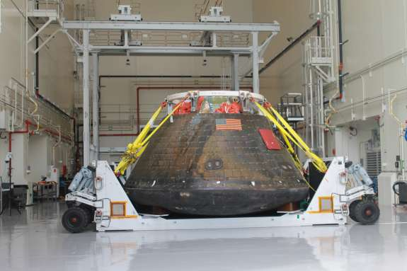 Technicians removed Orion's heat shield in February. Photo by Amy Green